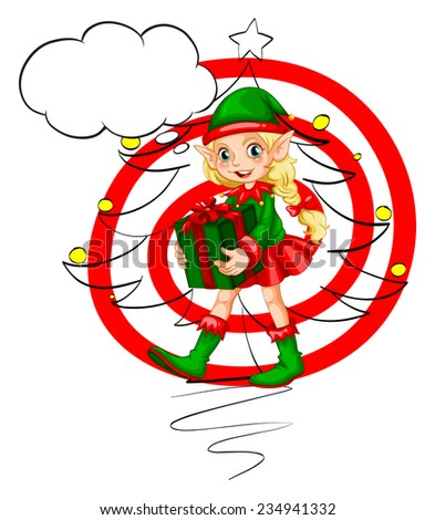 A female Santa elf with a gift on a white background