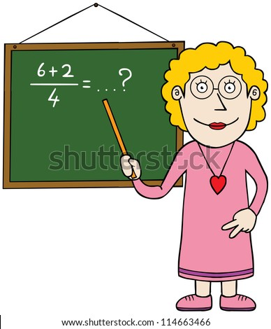 A female teacher is teaching math. - stock vector