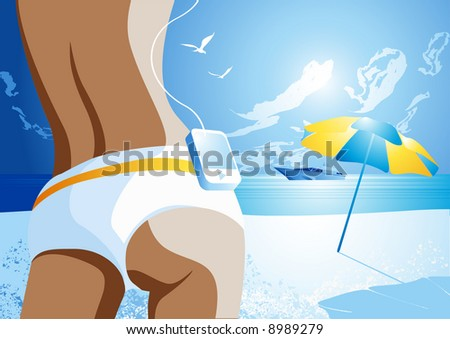 A female walking on to a hot sunny beach listening to music. - stock vector