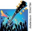 A festive music celebration with a guitar and hands clapping - stock vector