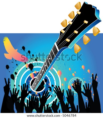 A festive music celebration with a guitar and hands clapping
