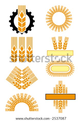 a few ornamental vector illustrations of ears and gear - stock vector