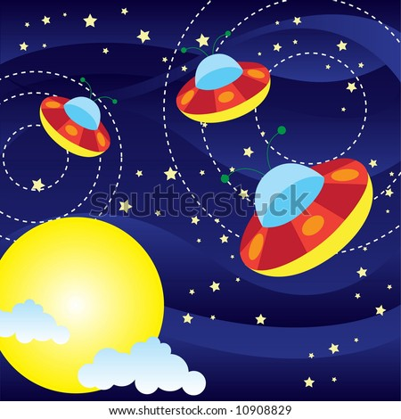 a few ufo are flying - stock vector