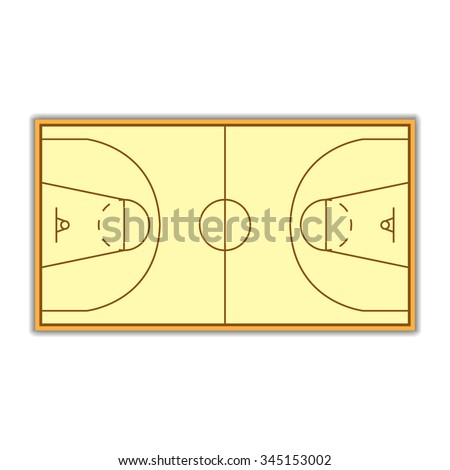 A field to play Basketball with markup, vector illustration.