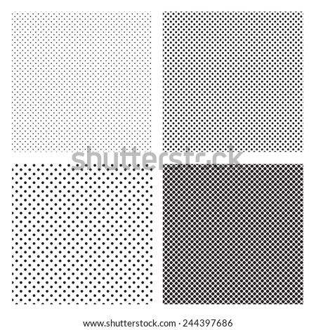 A fine various size dotted textures- black and white vector pattern - stock vector