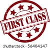 A 'First Class' Rubber Stamp Vector Illustration - stock vector
