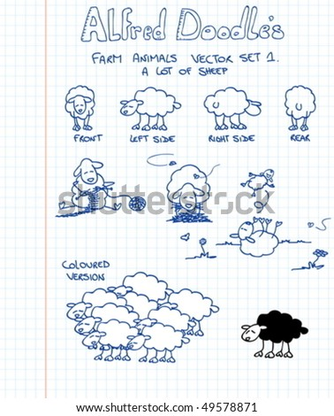 A first set of farm animals in doodle style: sheep - stock vector