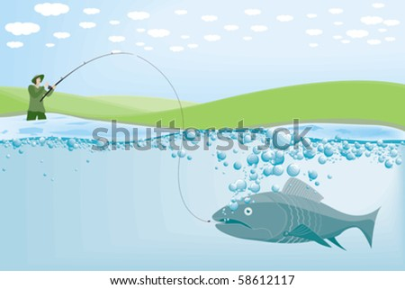 A fisherman with the catch of the day - stock vector