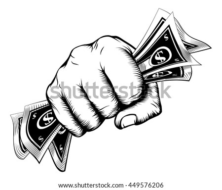 A fist holding cash money dollar bills in a vintage woodcut style - stock vector