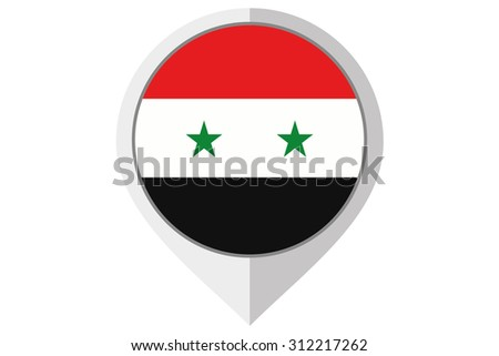 A Flag Illustration inside a pointed of the country of Syria - stock vector