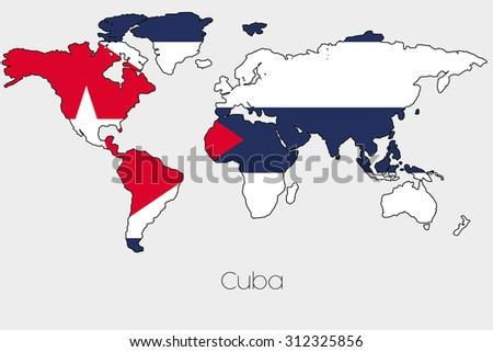 Flag illustration inside shape world map stock vector 312238370 a flag illustration inside the shape of a world map of the country of cuba gumiabroncs Choice Image