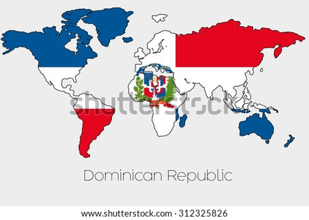 A Flag Illustration inside the shape of a world map of the country of Dominican Republic
