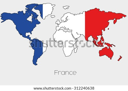 Flag illustration inside shape world map stock vector hd royalty a flag illustration inside the shape of a world map of the country of france gumiabroncs Image collections