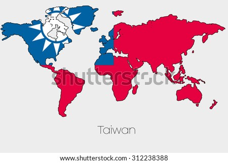 a flag illustration inside the shape of a world map of the country of taiwan
