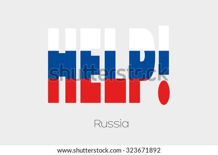 A Flag Illustration inside the word Help of the country of Russia