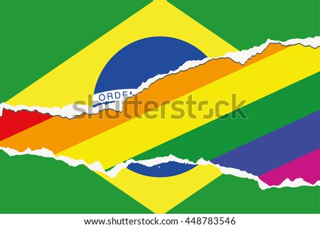 A Flag Illustration of the country of Brazil - stock vector