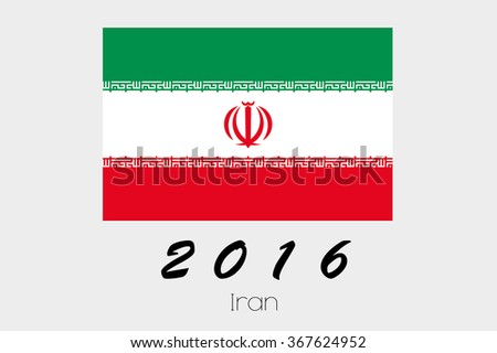 A 2016 Flag Illustration of the country of Iran - stock vector