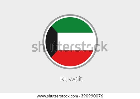 A Flag Illustration of the country of Kuwait - stock vector