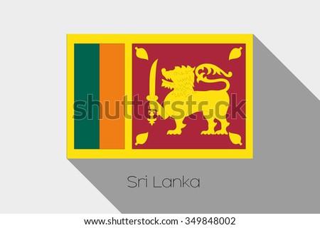 A Flag Illustration with Shadow of Sri Lanka - stock vector