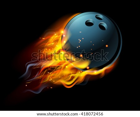 A flaming Bowling ball on fire flying through the air - stock vector