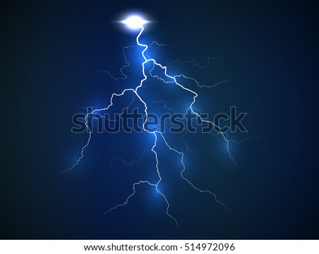 A flash of lightning. Realistic effect of electrical discharge. Dark blue background. Vector illustration.