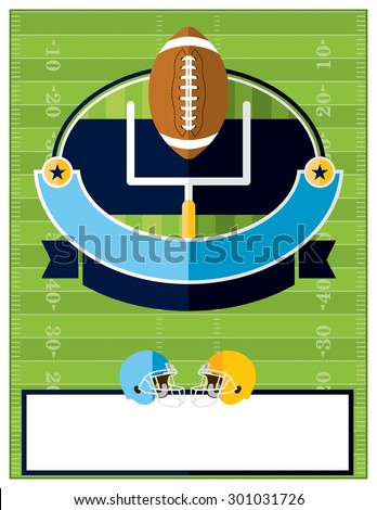 A flat design American Football flyer, invitation, or poster. Room for copy. Vector EPS 10. - stock vector