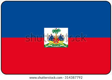 A Flat Design Flag Illustration with Rounded Corners and Black Outline of the country of Haiti