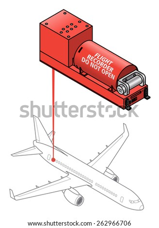 A flight data recorder. Diagram shows typical location on a plane. - stock vector