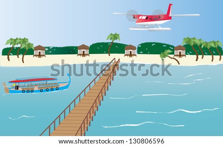 A Floatplane landing at an Island in the Maldives with a Dhoni boat,bungalows and a Jetty - stock vector