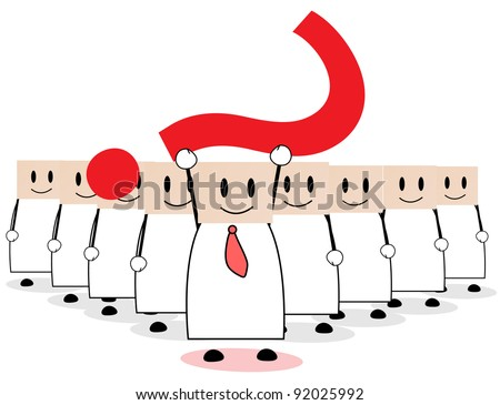a flock leader raised a big question mark - stock vector