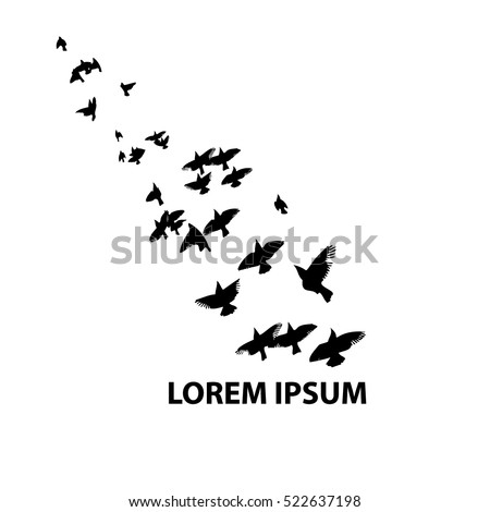 Flock Flying Birds Vector 522637198