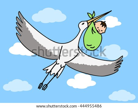 a flying stork carrying a bundle with a newborn baby - stock vector