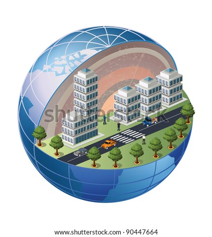 A fragment of the urban district located on a section of the globe - stock vector