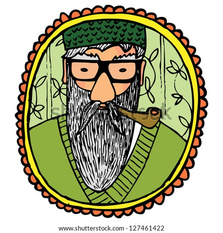 A Framed Cartoon Portrait Of Grandfather Old Man Smoking Pipe