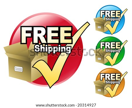 A free shipping icon in four different colors to choose from. The icon has a cardboard box with a check mark by it. - stock vector
