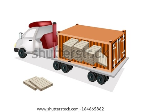 A Freight Container Trucking A Group of Shipping Pallets on The Back of A Flatbed Truck, Tractor Trailer or Flatbed Articulated Lorry for Trucking Products and Materials from Overseas Shipping.
