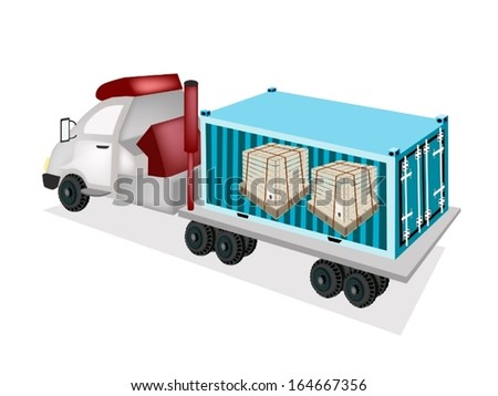 A Freight Container Trucking Wooden Crates or Cargo Boxes Protection with Steel Banding on The Back of A Flatbed Truck or Flatbed Articulated Lorry.