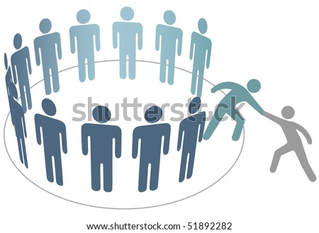 A friend helps a person join a company club team or other group. - stock vector
