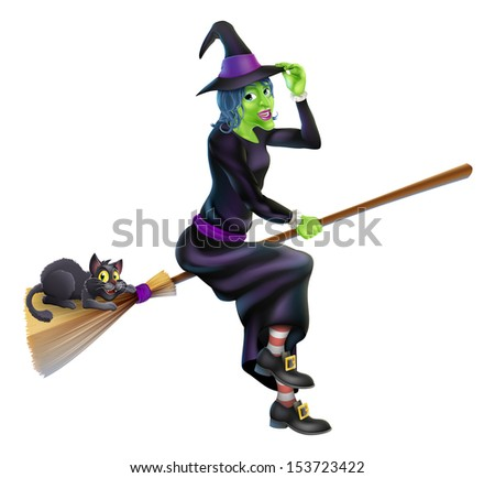 A friendly cartoon Halloween witch flying on her broom stick with her cute black cat - stock vector