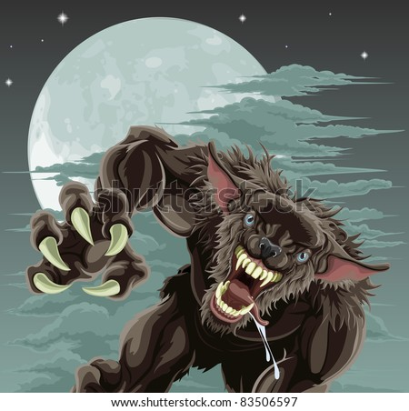 A frightening werewolf in front of moonlit sky. Halloween illustration. - stock vector