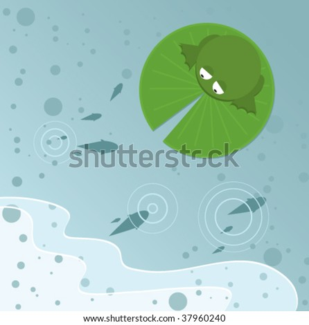 A frog sitting on a lily pad in the middle of a pond. A school of fish under the water is skimming for food at the surface and causing ripples in the water. Waves indicate they are close to land. - stock vector