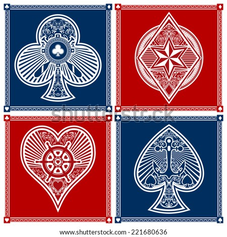 A full set of custom nautical poker suits in vector format.