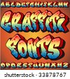 A Full Set of Graffiti Fonts - stock photo