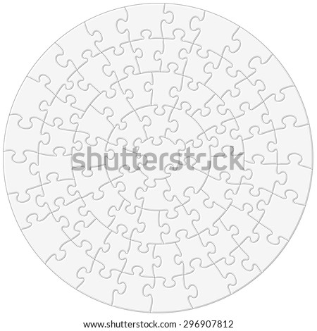 A full vector shape of a circular jigsaw puzzle positioned against a solid white background - stock vector