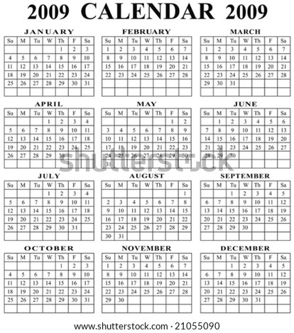 A fully editable vector illustration of a 2009 calendar