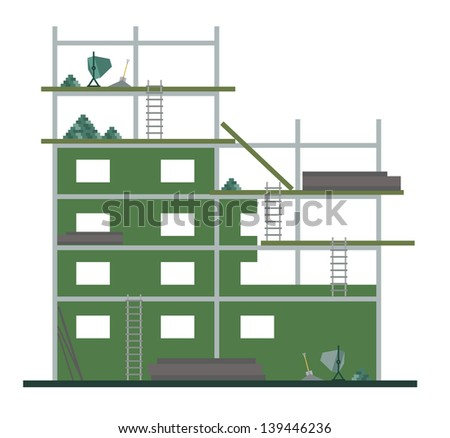 A fully editable vertical illustration of a construction site without people working at for any strike or labor concept - stock vector