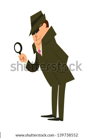 A fully editablevertical vector illustration depicting a detective looking through a magnifying glass with a hat and sunglasses for any investigation or spy concepts - stock vector