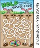 A fun easter game for children. Navigate through the maze to help the bunnies find their chocolate Easter eggs! - stock photo