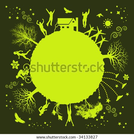 A funky vector illustration of a green planet - stock vector