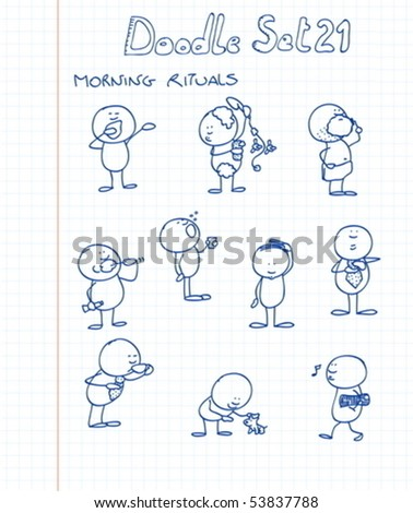 A funny and adorable cartoon style doodles in morning situations - stock vector